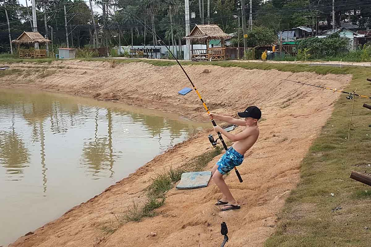 Now fishing at Chalong Fishing Park which is kid friendly